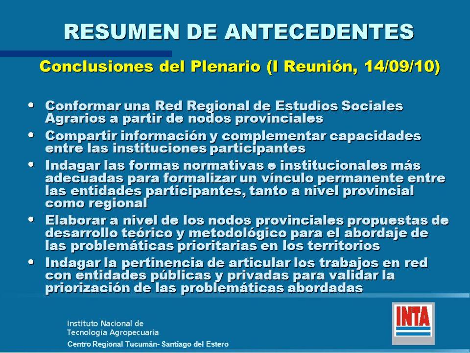 Centro Regional Tucumán- Santiago del Estero RESUMEN DE ANTECEDENTES Conclusiones del Plenario (I Reunión, 14/09/10) Conformar una Red Regional de Est