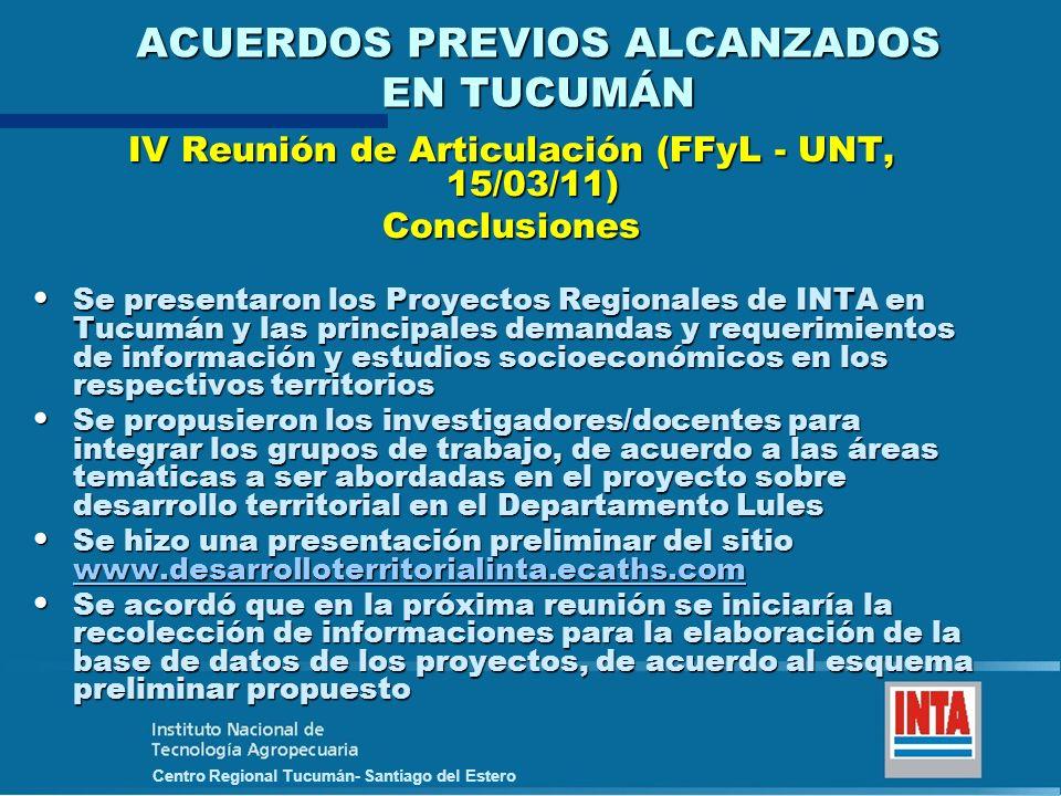 Centro Regional Tucumán- Santiago del Estero ACUERDOS PREVIOS ALCANZADOS EN TUCUMÁN IV Reunión de Articulación (FFyL - UNT, 15/03/11) Conclusiones Se