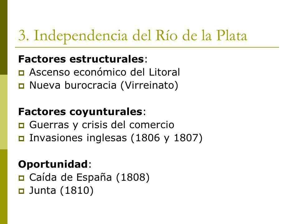 3. Independencia del Río de la Plata Factores estructurales: Ascenso económico del Litoral Nueva burocracia (Virreinato) Factores coyunturales: Guerra