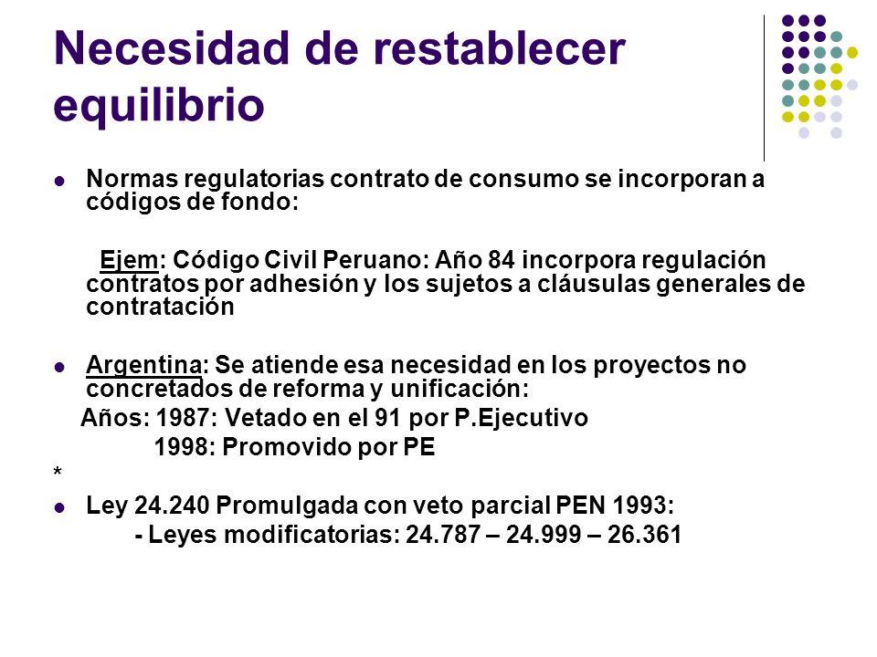 Fundamentos proyecto de Reforma año 1998 expresó: El Proyecto, procurando buscar el ideal del equilibrio, asume que los contratos de consumo tienen su continente en la legislación especial.