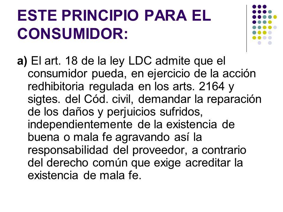 ESTE PRINCIPIO PARA EL CONSUMIDOR: b) El art.