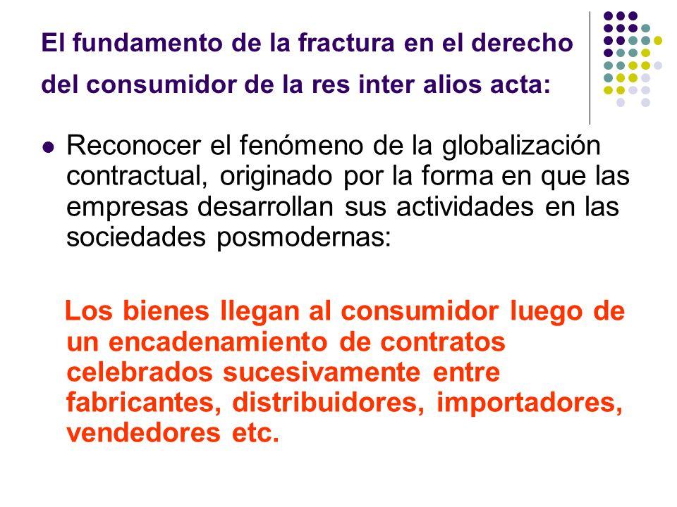 El fundamento de la fractura en el derecho del consumidor de la res inter alios acta: Reconocer el fenómeno de la globalización contractual, originado