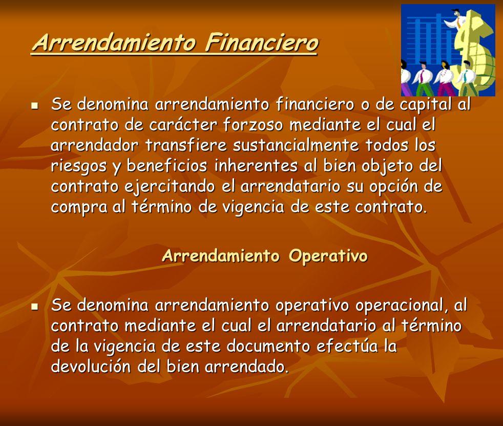 Arrendamiento Financiero Se denomina arrendamiento financiero o de capital al contrato de carácter forzoso mediante el cual el arrendador transfiere s