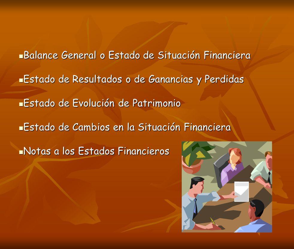 Balance General o Estado de Situación Financiera Balance General o Estado de Situación Financiera Estado de Resultados o de Ganancias y Perdidas Estad