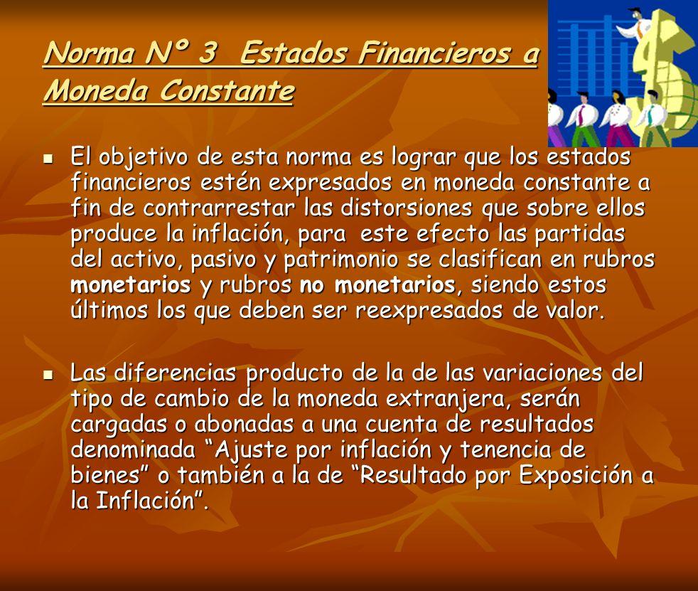 Norma Nº 3 Estados Financieros a Moneda Constante El objetivo de esta norma es lograr que los estados financieros estén expresados en moneda constante