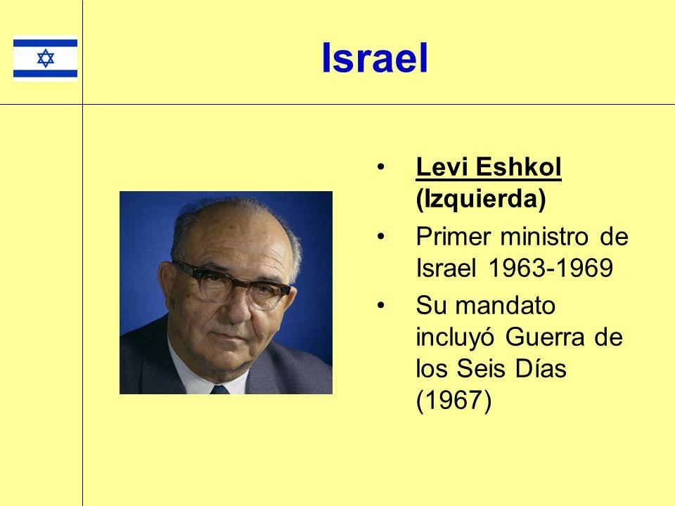 Levi Eshkol (Izquierda) Primer ministro de Israel 1963-1969 Su mandato incluyó Guerra de los Seis Días (1967) Israel
