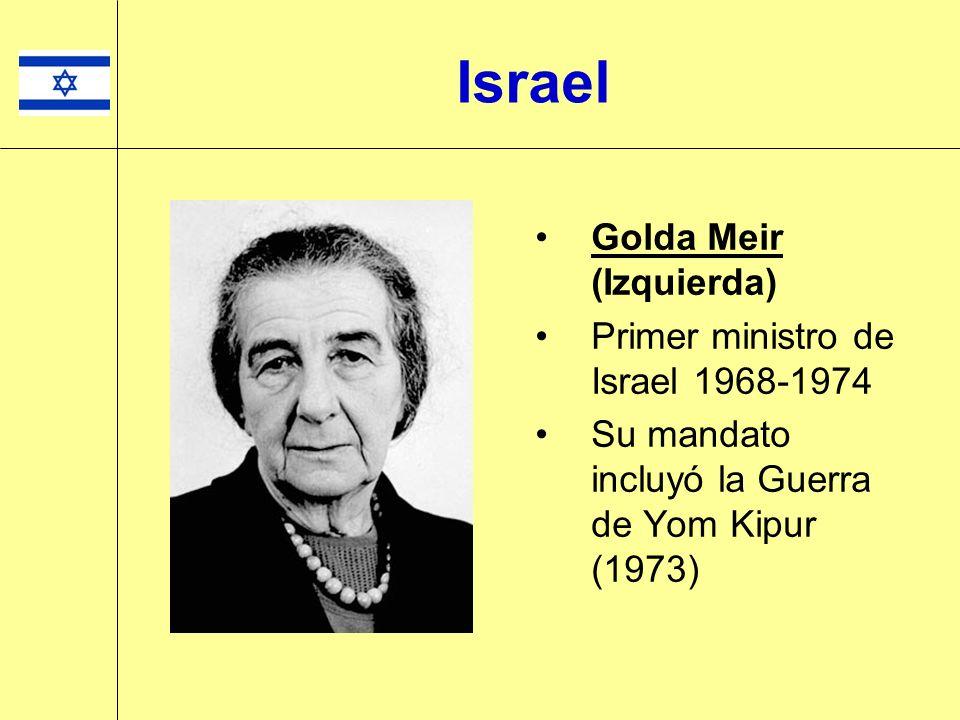 Golda Meir (Izquierda) Primer ministro de Israel 1968-1974 Su mandato incluyó la Guerra de Yom Kipur (1973) Israel