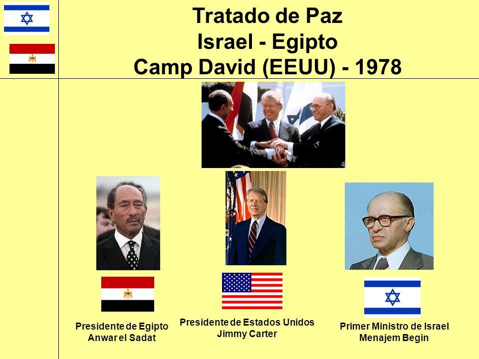 Presidente de Egipto Anwar el Sadat Presidente de Estados Unidos Jimmy Carter Primer Ministro de Israel Menajem Begin Tratado de Paz Israel - Egipto C