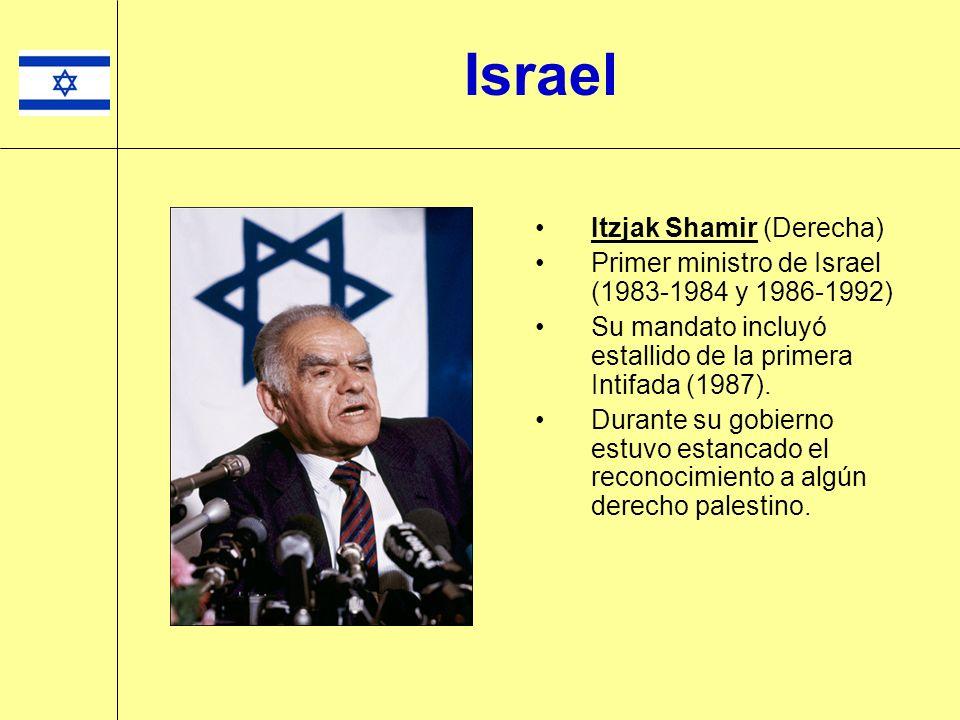 Itzjak Shamir (Derecha) Primer ministro de Israel (1983-1984 y 1986-1992) Su mandato incluyó estallido de la primera Intifada (1987). Durante su gobie