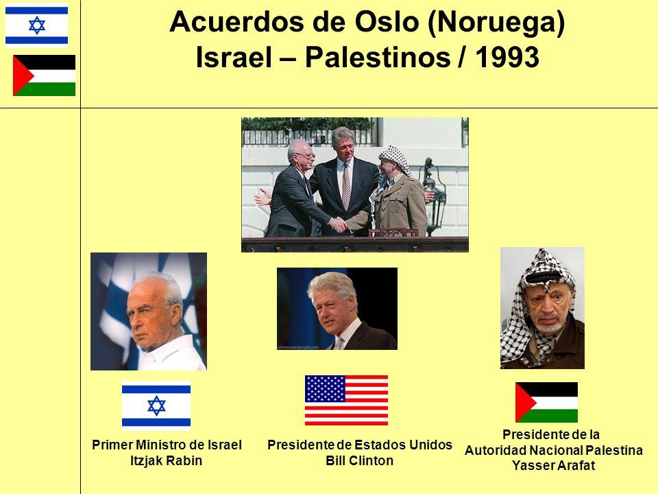 Presidente de la Autoridad Nacional Palestina Yasser Arafat Presidente de Estados Unidos Bill Clinton Primer Ministro de Israel Itzjak Rabin Acuerdos