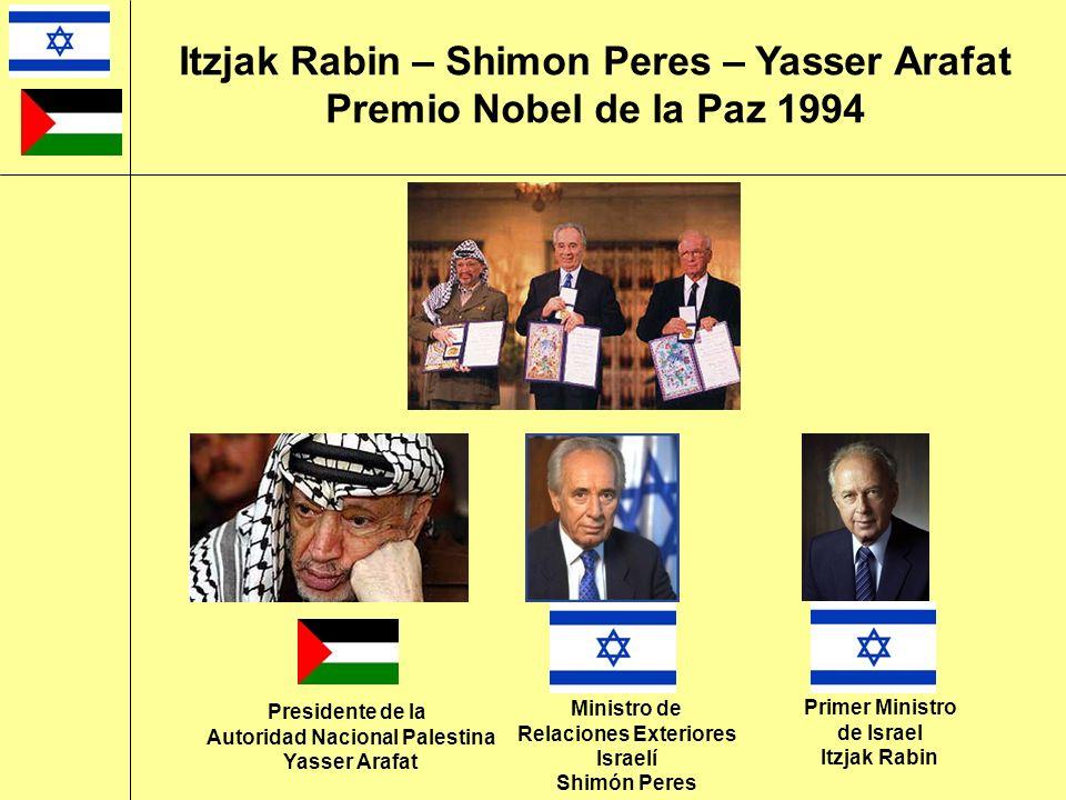 Ministro de Relaciones Exteriores Israelí Shimón Peres Itzjak Rabin – Shimon Peres – Yasser Arafat Premio Nobel de la Paz 1994 Presidente de la Autori
