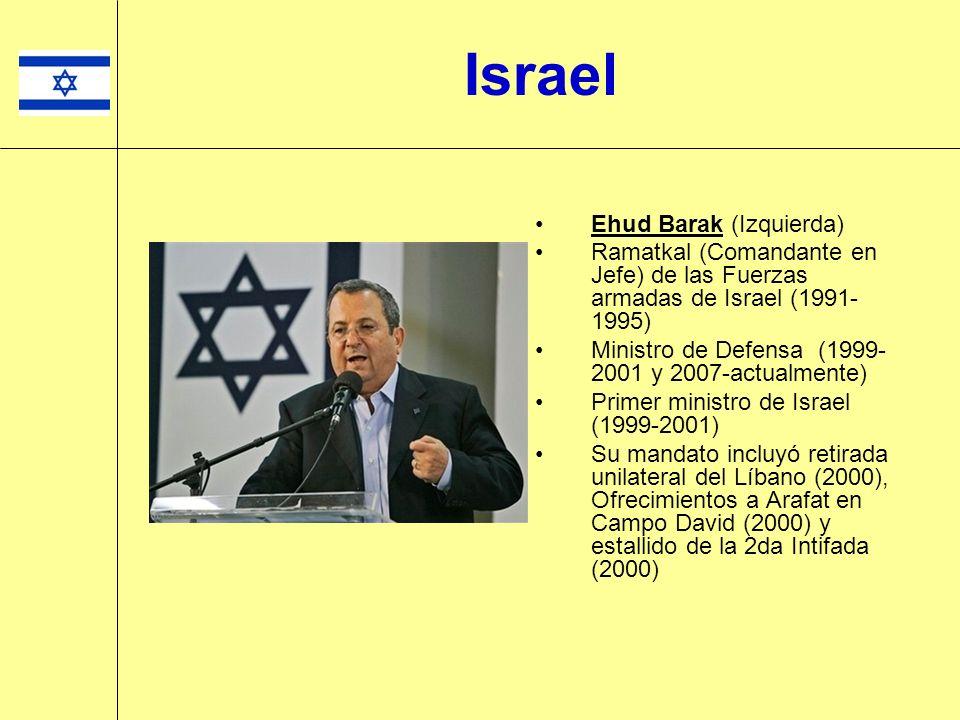 Ehud Barak (Izquierda) Ramatkal (Comandante en Jefe) de las Fuerzas armadas de Israel (1991- 1995) Ministro de Defensa (1999- 2001 y 2007-actualmente)