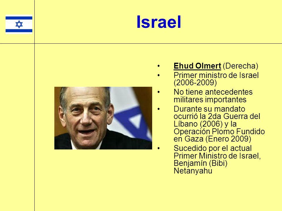 Ehud Olmert (Derecha) Primer ministro de Israel (2006-2009) No tiene antecedentes militares importantes Durante su mandato ocurrió la 2da Guerra del L