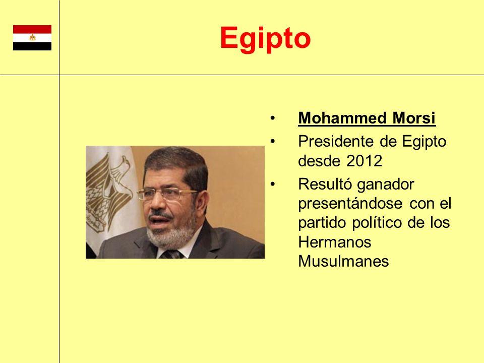 Mohammed Morsi Presidente de Egipto desde 2012 Resultó ganador presentándose con el partido político de los Hermanos Musulmanes Egipto