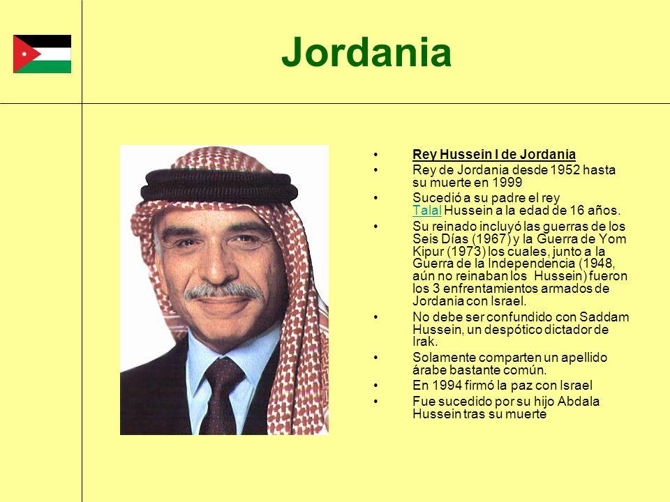 Rey Hussein I de Jordania Rey de Jordania desde 1952 hasta su muerte en 1999 Sucedió a su padre el rey Talal Hussein a la edad de 16 años. Talal Su re