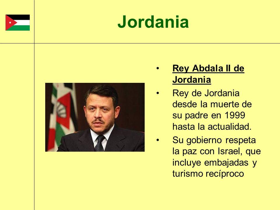 Rey Abdala II de Jordania Rey de Jordania desde la muerte de su padre en 1999 hasta la actualidad. Su gobierno respeta la paz con Israel, que incluye