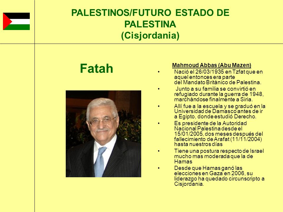 Mahmoud Abbas (Abu Mazen) Nació el 26/03/1935 en Tzfat que en aquel entonces era parte del Mandato Británico de Palestina. Junto a su familia se convi