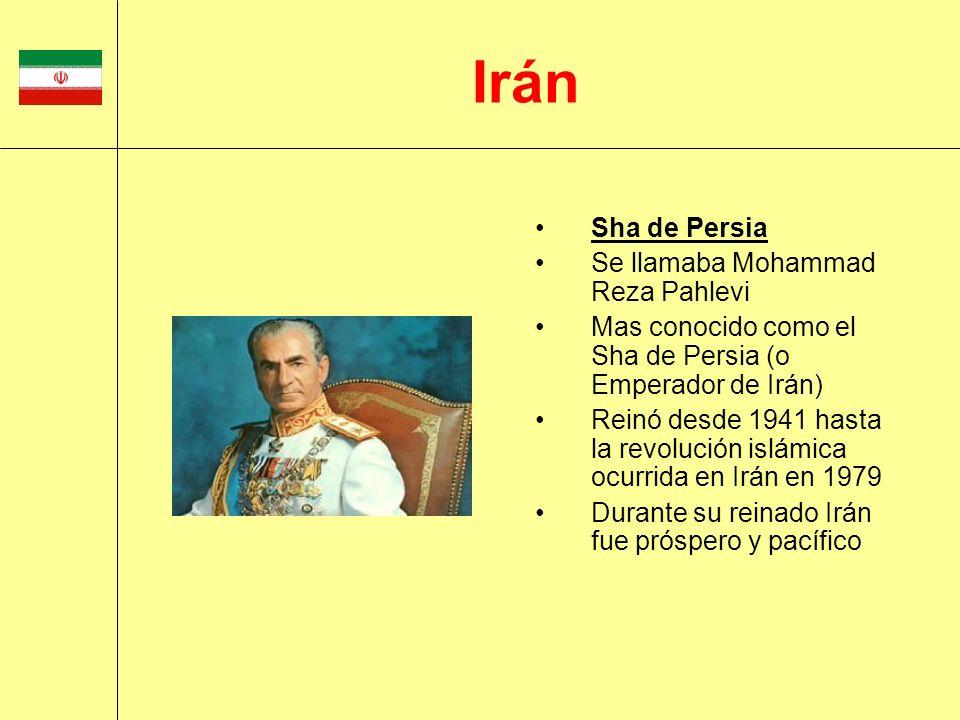 Sha de Persia Se llamaba Mohammad Reza Pahlevi Mas conocido como el Sha de Persia (o Emperador de Irán) Reinó desde 1941 hasta la revolución islámica