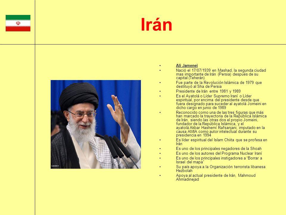 Ali Jamenei Nació el 17/07/1939 en Mashad, la segunda ciudad mas importante de Irán (Persia) después de su capital (Teherán). Fue parte de la Revoluci