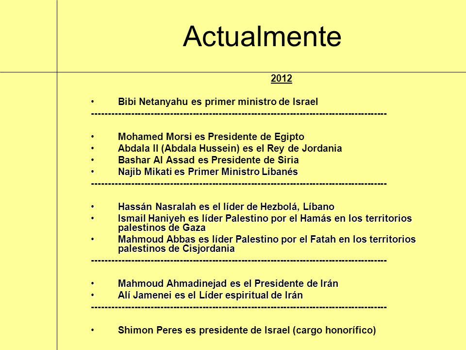 2012 Bibi Netanyahu es primer ministro de Israel ------------------------------------------------------------------------------------------- Mohamed M