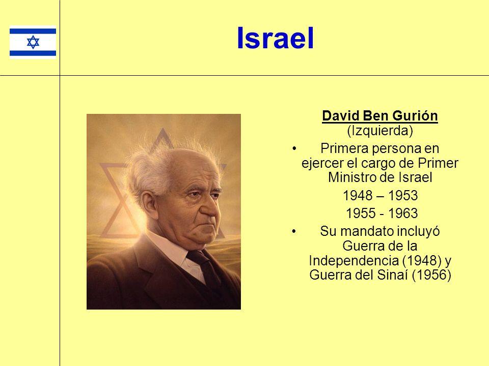 Israel David Ben Gurión (Izquierda) Primera persona en ejercer el cargo de Primer Ministro de Israel 1948 – 1953 1955 - 1963 Su mandato incluyó Guerra