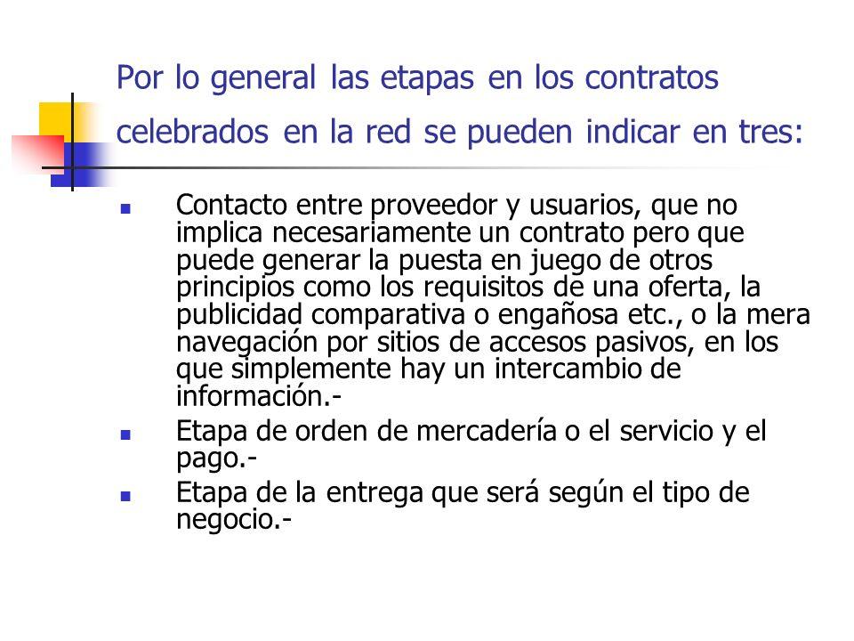Por lo general las etapas en los contratos celebrados en la red se pueden indicar en tres: Contacto entre proveedor y usuarios, que no implica necesar