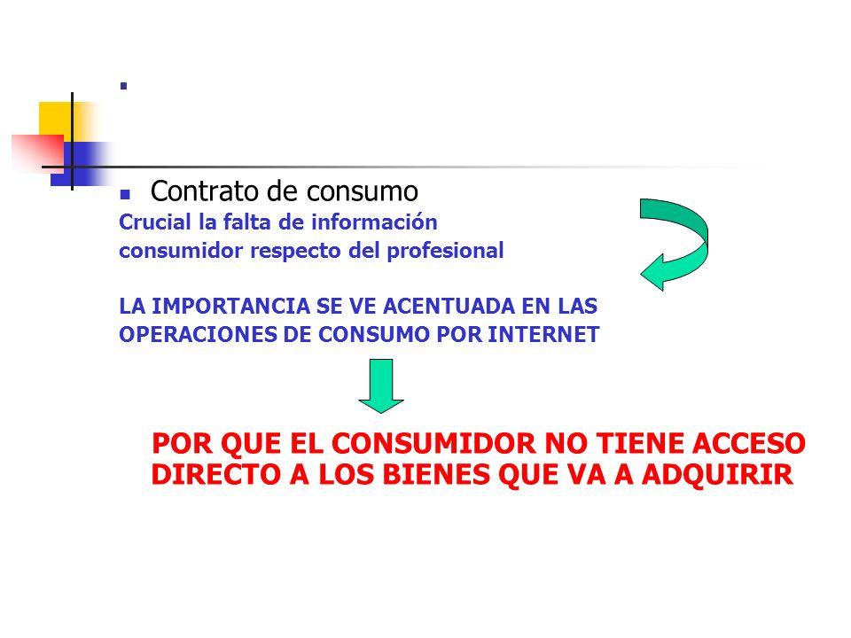 . Contrato de consumo Crucial la falta de información consumidor respecto del profesional LA IMPORTANCIA SE VE ACENTUADA EN LAS OPERACIONES DE CONSUMO
