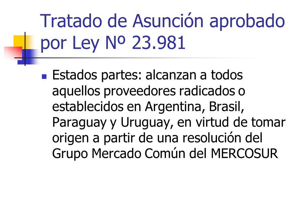 Tratado de Asunción aprobado por Ley Nº 23.981 Estados partes: alcanzan a todos aquellos proveedores radicados o establecidos en Argentina, Brasil, Pa