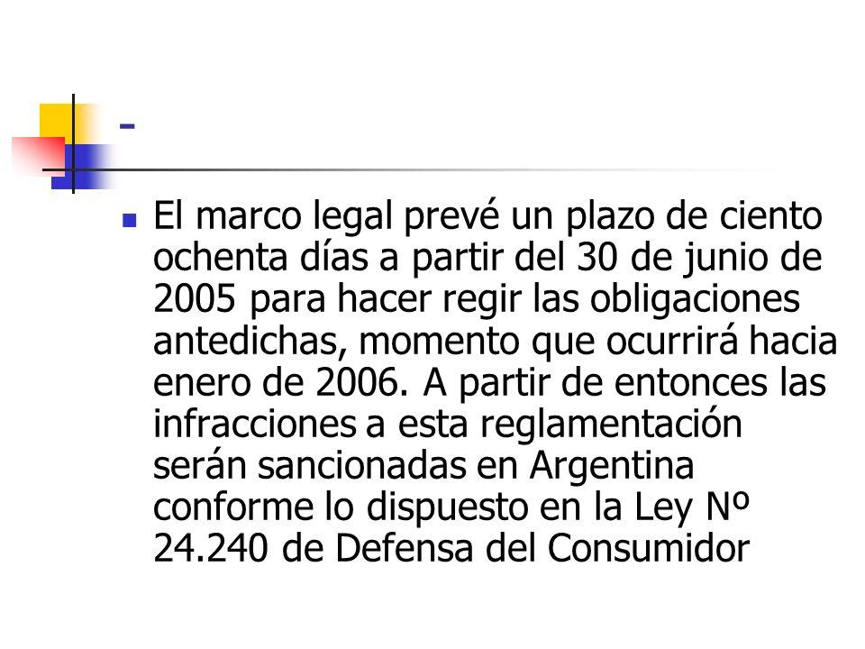 - El marco legal prevé un plazo de ciento ochenta días a partir del 30 de junio de 2005 para hacer regir las obligaciones antedichas, momento que ocur