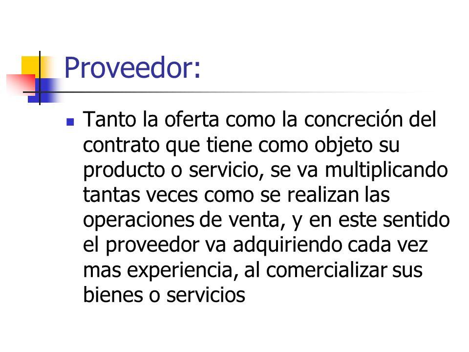 Proveedor: Tanto la oferta como la concreción del contrato que tiene como objeto su producto o servicio, se va multiplicando tantas veces como se real