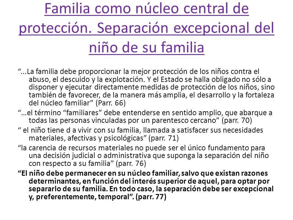 Familia como núcleo central de protección. Separación excepcional del niño de su familia...La familia debe proporcionar la mejor protección de los niñ