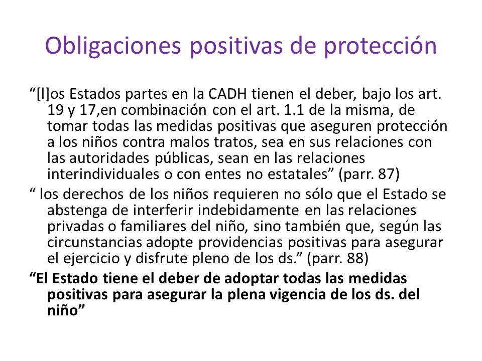 Obligaciones positivas de protección [l]os Estados partes en la CADH tienen el deber, bajo los art. 19 y 17,en combinación con el art. 1.1 de la misma