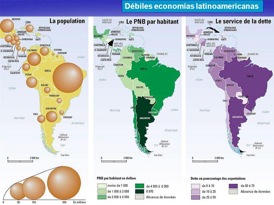 Débiles economías latinoamericanas