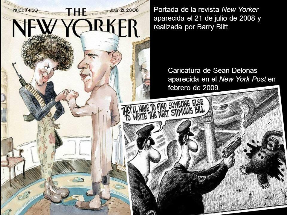Portada de la revista New Yorker aparecida el 21 de julio de 2008 y realizada por Barry Blitt.