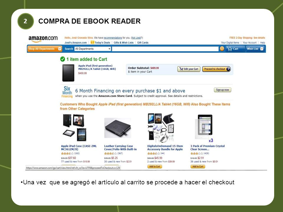COMPRA DE EBOOK READER 2 Una vez que se agregó el artículo al carrito se procede a hacer el checkout
