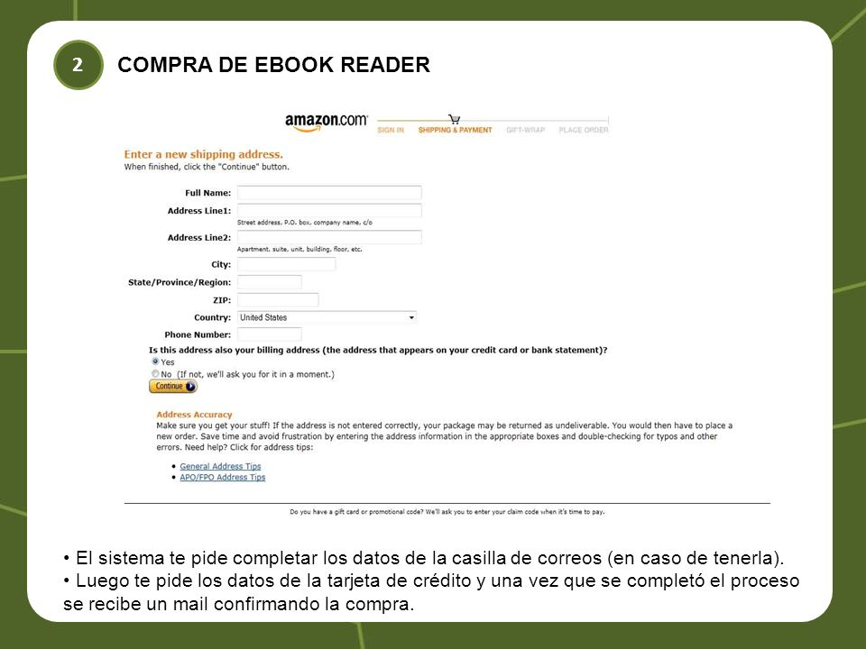 COMPRA DE EBOOK READER 2 El sistema te pide completar los datos de la casilla de correos (en caso de tenerla).