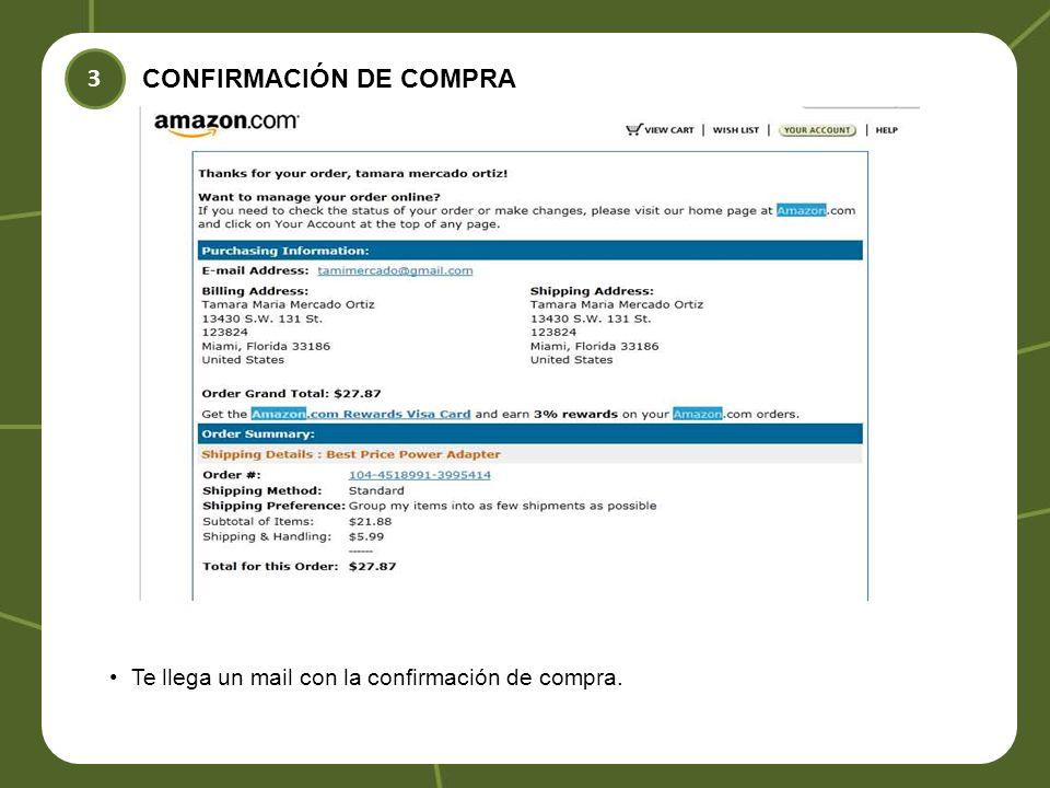 3 CONFIRMACIÓN DE COMPRA Te llega un mail con la confirmación de compra.