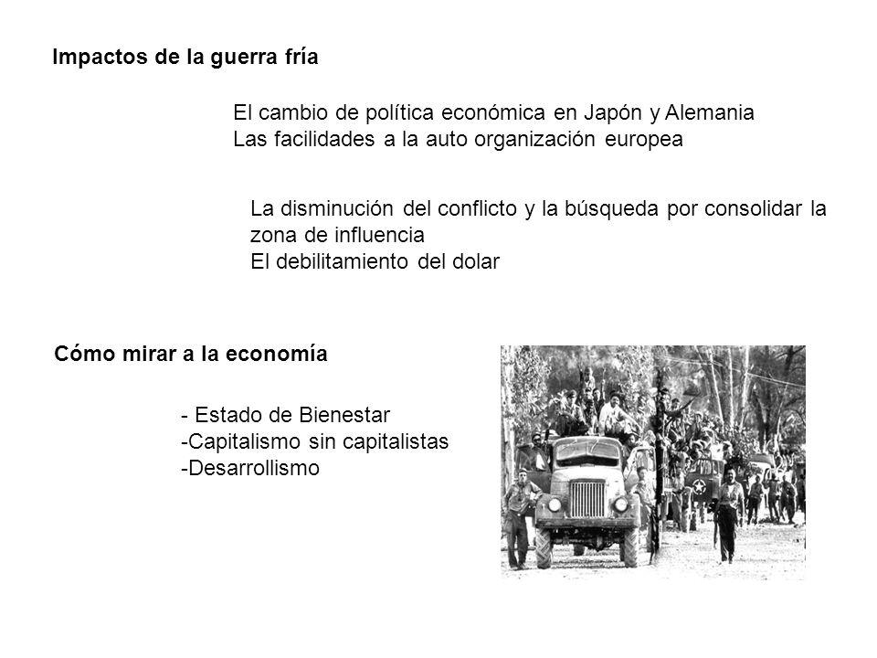 Impactos de la guerra fría Cómo mirar a la economía El cambio de política económica en Japón y Alemania Las facilidades a la auto organización europea