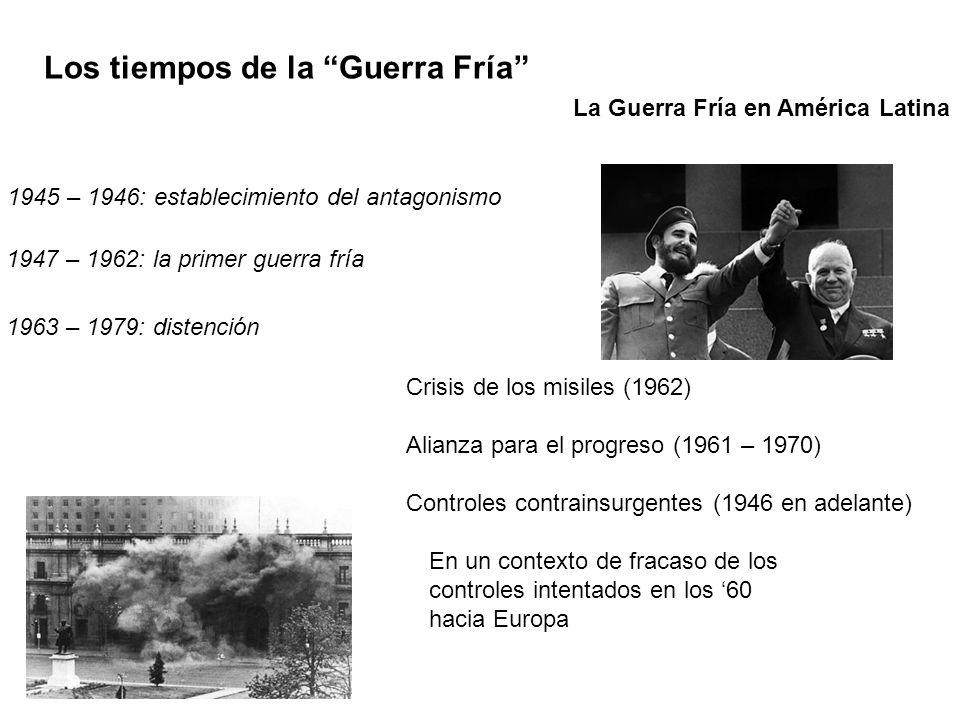 1945 – 1946: establecimiento del antagonismo 1947 – 1962: la primer guerra fría 1963 – 1979: distención Los tiempos de la Guerra Fría Crisis de los mi