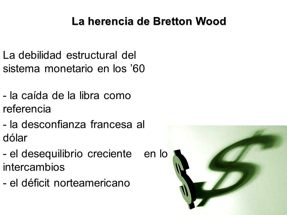 La herencia de Bretton Wood La debilidad estructural del sistema monetario en los 60 - la caída de la libra como referencia - la desconfianza francesa