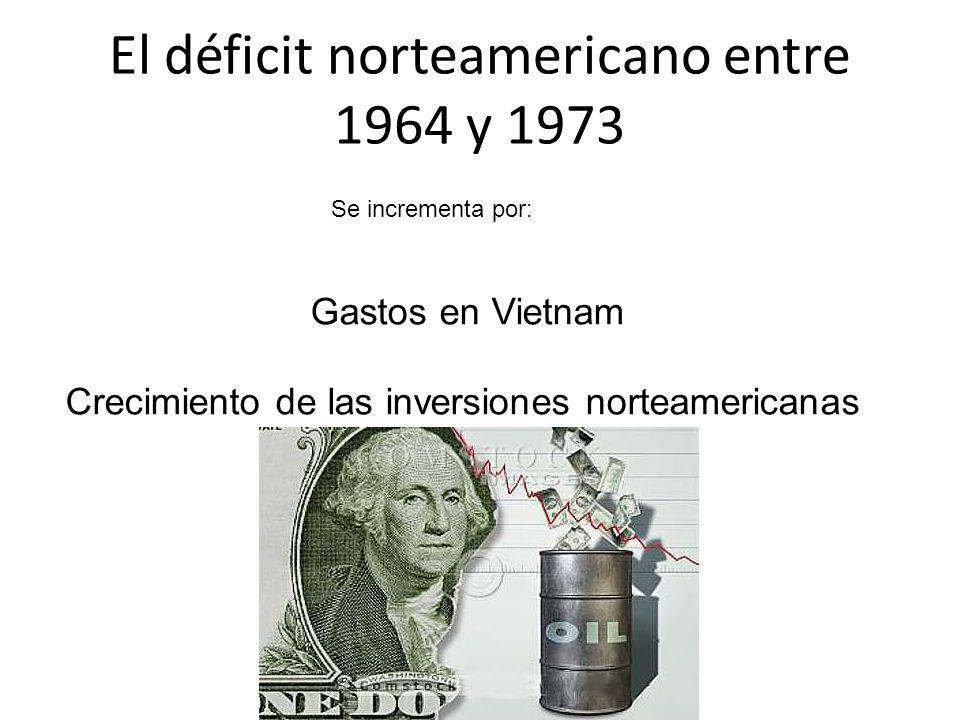 El déficit norteamericano entre 1964 y 1973 Se incrementa por: Gastos en Vietnam Crecimiento de las inversiones norteamericanas en el exterior