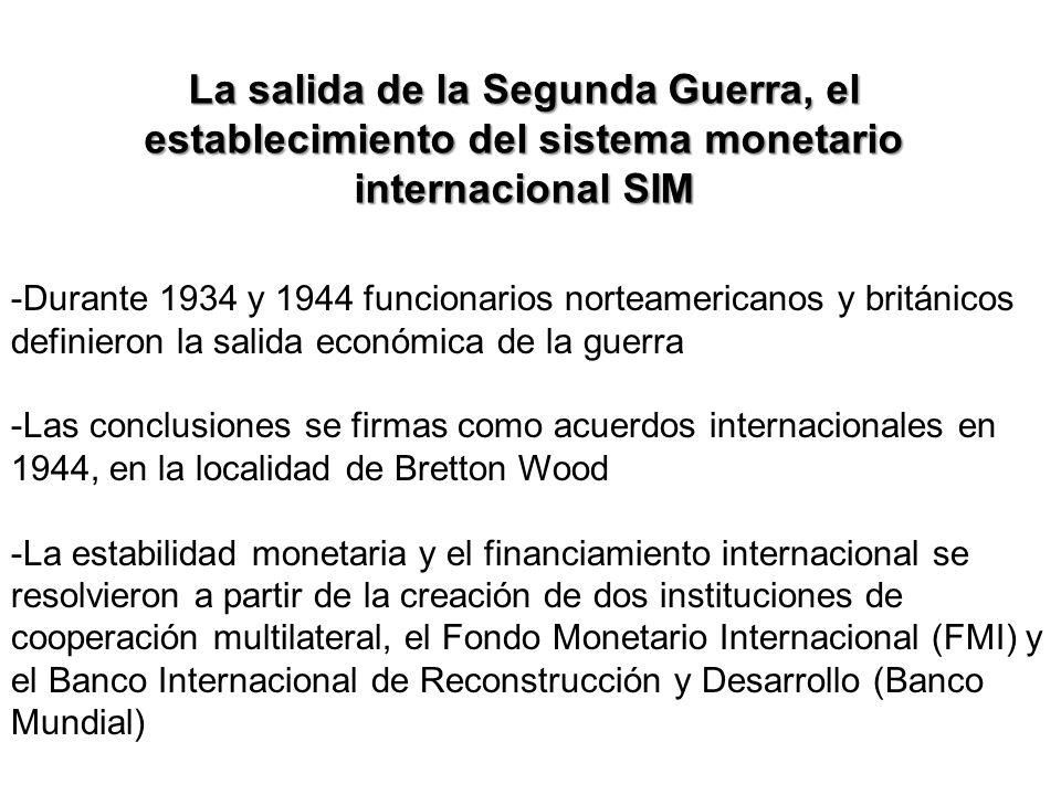 La salida de la Segunda Guerra, el establecimiento del sistema monetario internacional SIM -Durante 1934 y 1944 funcionarios norteamericanos y británi