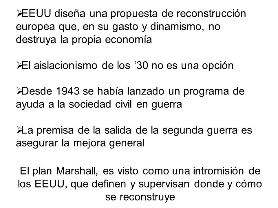 EEUU diseña una propuesta de reconstrucción europea que, en su gasto y dinamismo, no destruya la propia economía El aislacionismo de los 30 no es una