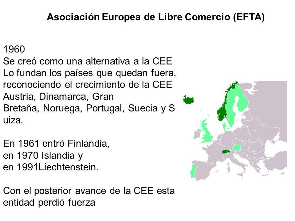Asociación Europea de Libre Comercio (EFTA) 1960 Se creó como una alternativa a la CEE Lo fundan los países que quedan fuera, reconociendo el crecimie