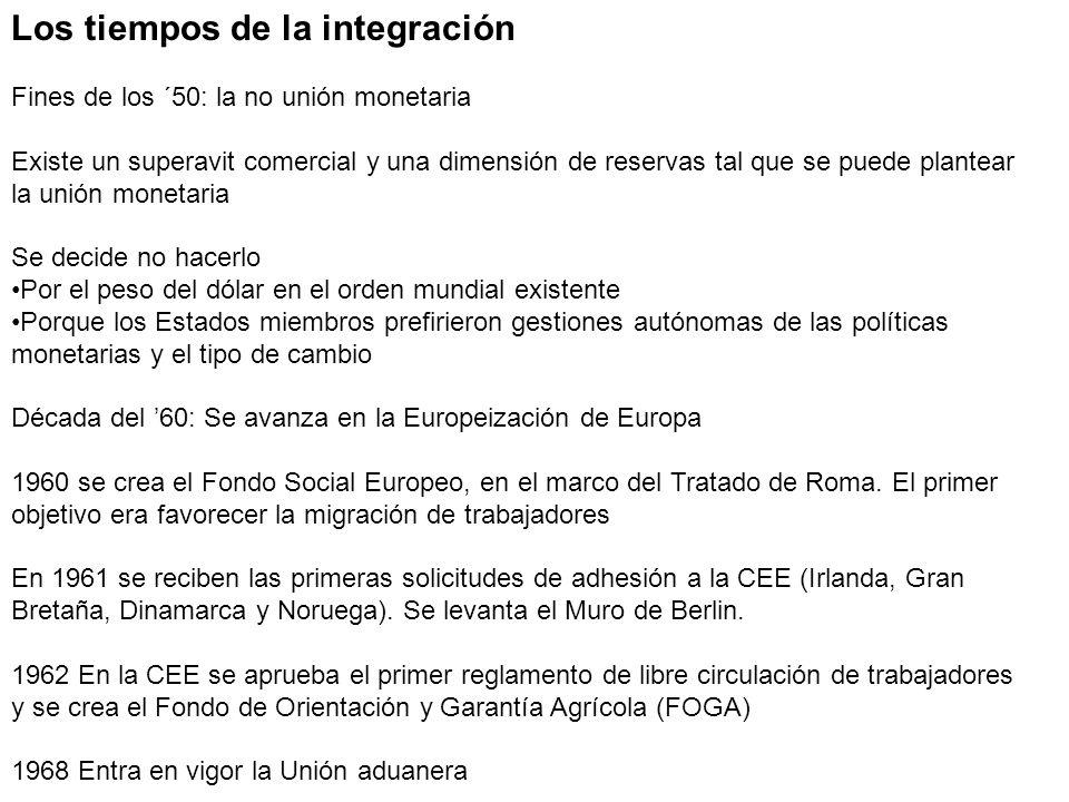 Los tiempos de la integración Fines de los ´50: la no unión monetaria Existe un superavit comercial y una dimensión de reservas tal que se puede plant
