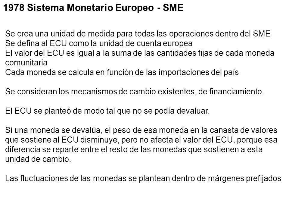 1978 Sistema Monetario Europeo - SME Se crea una unidad de medida para todas las operaciones dentro del SME Se defina al ECU como la unidad de cuenta