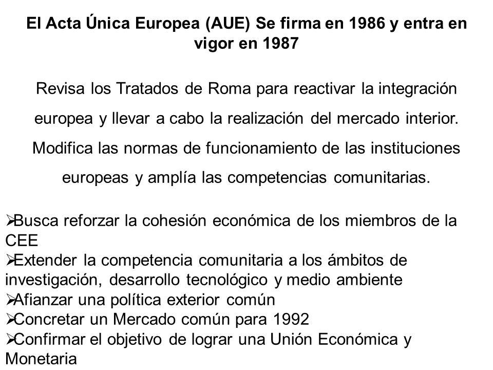 El Acta Única Europea (AUE) Se firma en 1986 y entra en vigor en 1987 Revisa los Tratados de Roma para reactivar la integración europea y llevar a cab