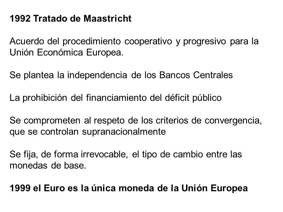 1992 Tratado de Maastricht Acuerdo del procedimiento cooperativo y progresivo para la Unión Económica Europea. Se plantea la independencia de los Banc