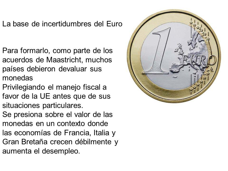 La base de incertidumbres del Euro Para formarlo, como parte de los acuerdos de Maastricht, muchos países debieron devaluar sus monedas Privilegiando