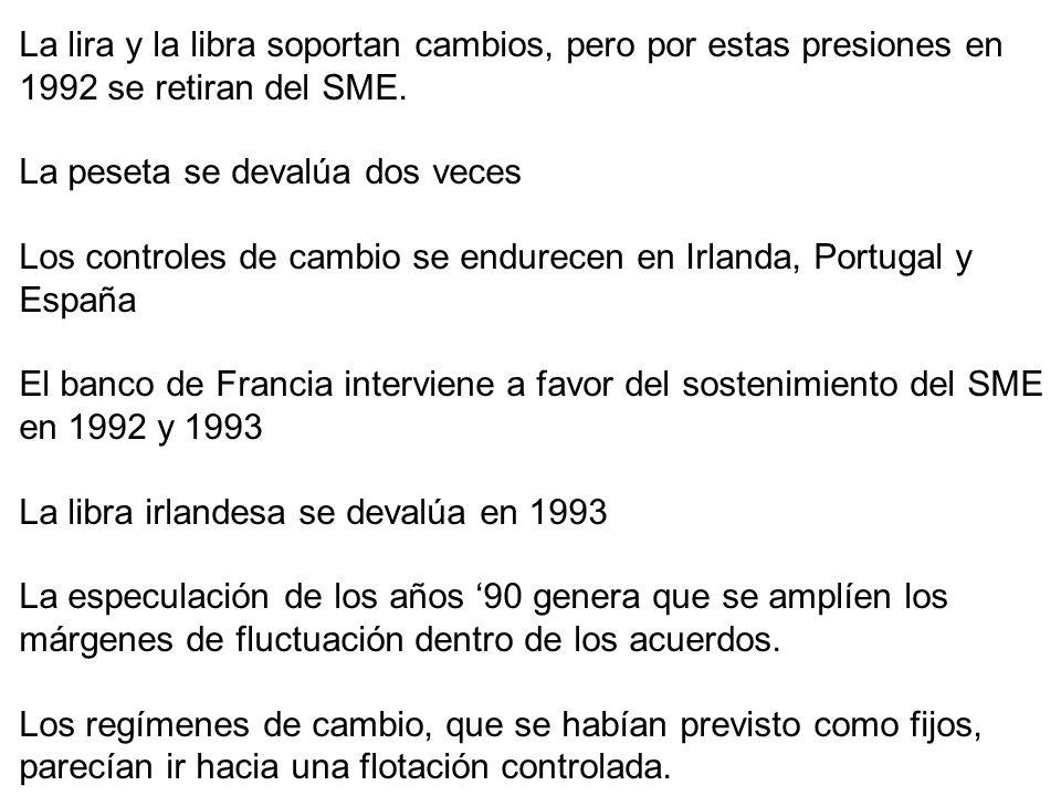 La lira y la libra soportan cambios, pero por estas presiones en 1992 se retiran del SME. La peseta se devalúa dos veces Los controles de cambio se en